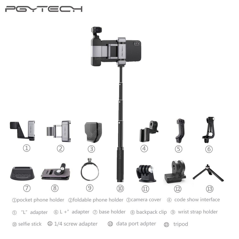 PGYTECH DJI Osmo soporte plegable para móvil, adaptador de montaje de trípode/palo Selfie mochila, Clip, correa de muñeca, accesorios
