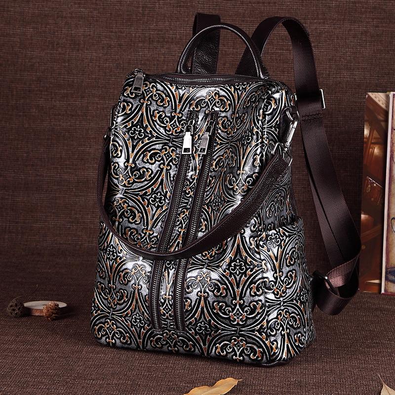 Women Genuine Leather Backpack School Book Shoulder Bag Embossed Top Quality New Female Knapsack Luxury Daypack Travel Rucksack