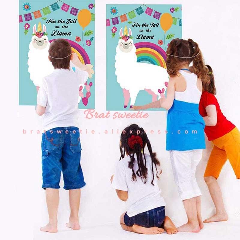 Pin the Tail on The Llama Party Game Llama Fiesta Baby Shower Alpaca niños suministros de Fiesta de cumpleaños regalos