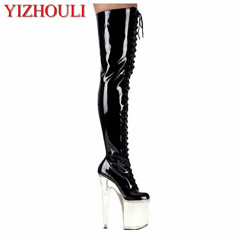 Super talons hauts, magasin de minuit 20 cm talon haut séduits modèle chaussures pour femmes, peinture de cuisson, bottes au genou