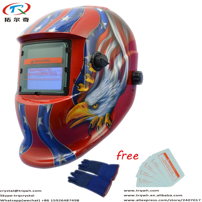 DIN9-13 Adjust Welding Helmet Auto Darkening Mascara Grinding Function Battery Replace CR2032 Welding Glove TRQ-HD10-2233FF