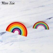 Cartoon big small rainbow Brooch DIY collocation Denim Jacket Pin Buckle Shirt Badge Fashion Birthday Gift For Friends kids