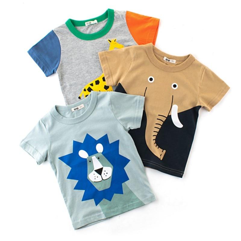 Baby T-shirt for Boys Summer Animal Print Short Sleeve Tee Shirts Kids Elephant Lions Giraffe T-Shirts Children Casual Tops