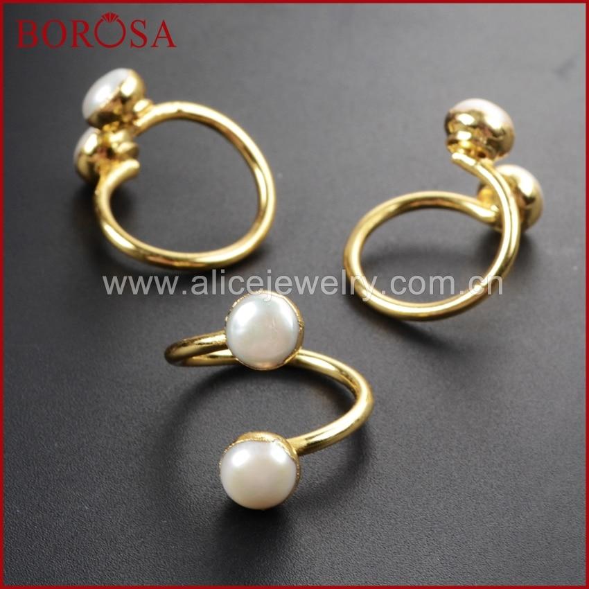 BOROSA diseño 5 uds Color oro Druzy doble perla Natural de agua dulce ajustable 5 ~ 7mm anillo de envoltura para las mujeres G1097