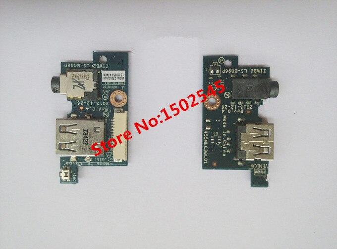 Frete grátis do laptop original placa de interface usb para lenovo b40 b50-30 b50-45 b50-70 placa usb placa de áudio ziwb2 ls-b096p