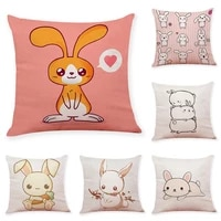 happy new year decorative pillow cover cute rabbit home decoration christmas throw pillow cover cotton linen sofa cushion cover