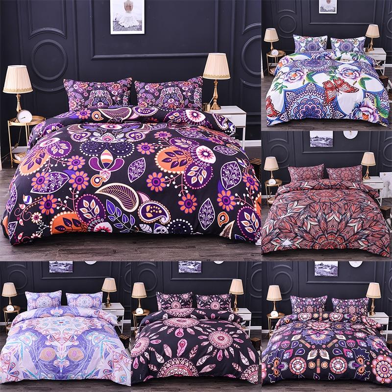 Juego de cama de edredón de Mandala Boniu de 2/3 Uds., juego de edredón con diseño Floral, funda de almohada, juego de cama doble de tamaño King, ropa de cama Bohemia