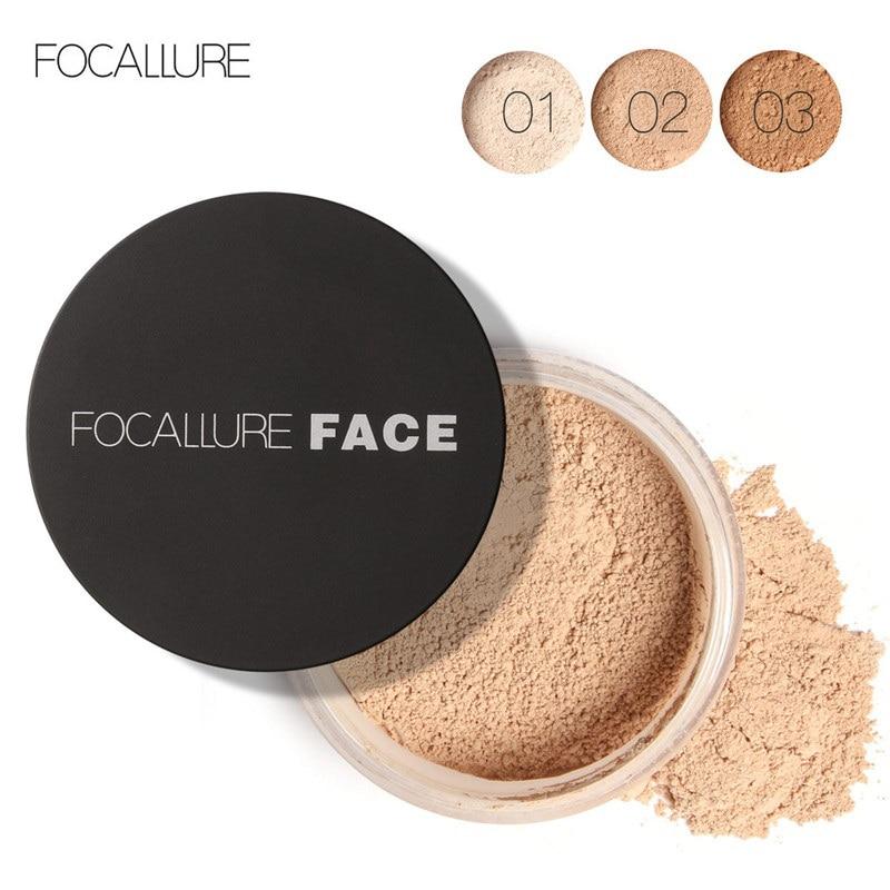 FOCALLURE nueva marca de maquillaje en polvo 3 colores sueltos maquillaje en polvo cara impermeable polvo suelto acabado de la piel en polvo