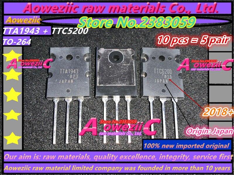 Aoweziic 2018 + {origen Japón} 100% nuevo importado original TTA1943 TTC5200 A1943 C5200 TO-264 amplificador de alta potencia (1 par)
