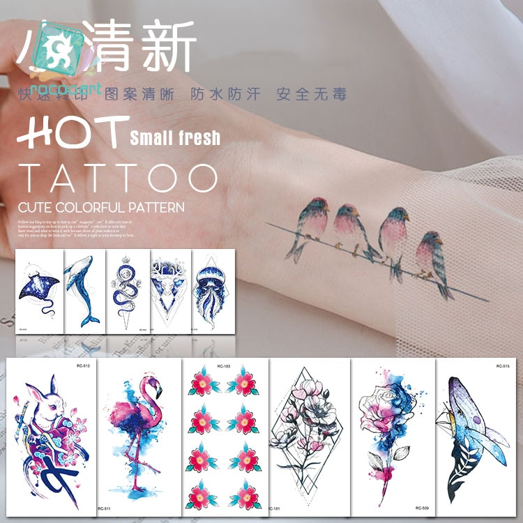 Tatuaje temporal a prueba de agua a la moda para mujeres, belleza sexual, tatuaje flash, pegatina de conejo, pájaro, diseño de pescado, tatuaje corporal falso