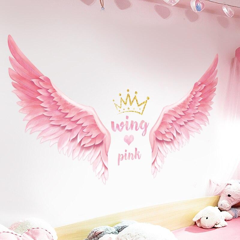 Adhesivo de pared con alas de pluma rosa y corazón para chica, adhesivo decorativo creativo para dormitorio o dormitorio, pegatinas con efecto 3d autoadhesivo