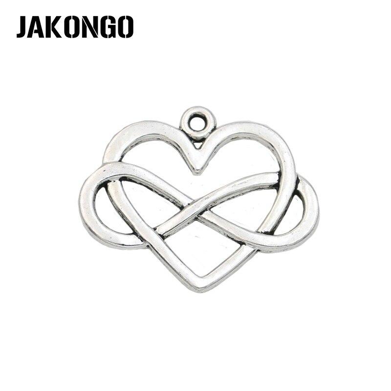 Encantos de amor de corazón de infinito chapados en plata antigua de JAKONGO para hacer joyas, accesorios de pulsera, hallazgos de joyería, 5 unids/lote