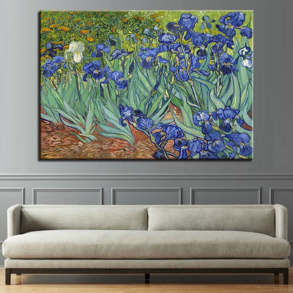 Картина на холсте, настенные художественные HD принты, Постер импрессионизма, 1 панель, ирисы, цветы, картины для гостиной, домашний декор, рам...
