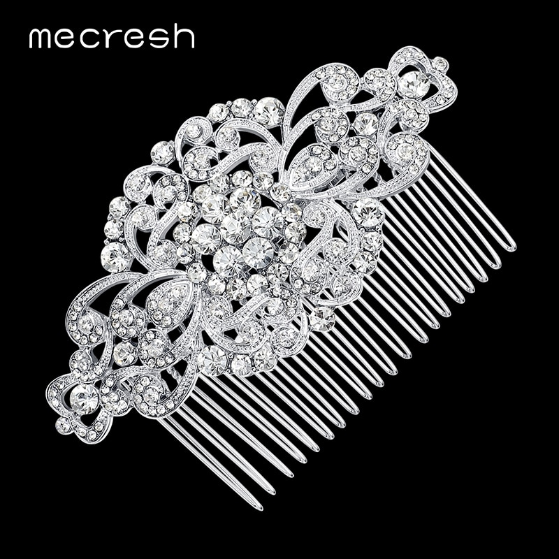 Mecresh Wunderschöne Top Kristall Hochzeit Haar Zubehör Braut Haar Schmuck Blume Kämme Beste Geschenk für Weihnachten Neue Jahr FS069