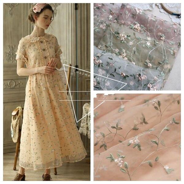 1 quintal/lote flor malha bordado tecido de renda material costurar no vestido de casamento roupas retalhos diy 130cm largura