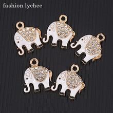 Moda lichia 5 pcs Bonito Elefante de Cristal Esmalte Encantos Pingente Para Colar Pulseira DIY Jewelry Making Acessórios