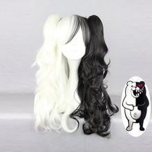 Danganronpa Monokuma femmes longues queues de cheval bouclés perruque Cosplay Costume blanc noir mélange résistant à la chaleur synthétique cheveux perruques + perruque casquette