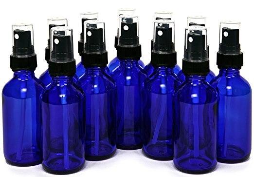 2 OZ Blue Green Amber Glass Bottles with Black Fine Mist Sprayers Perfect for Light Sensitive Liquids 12pcs/lot P107
