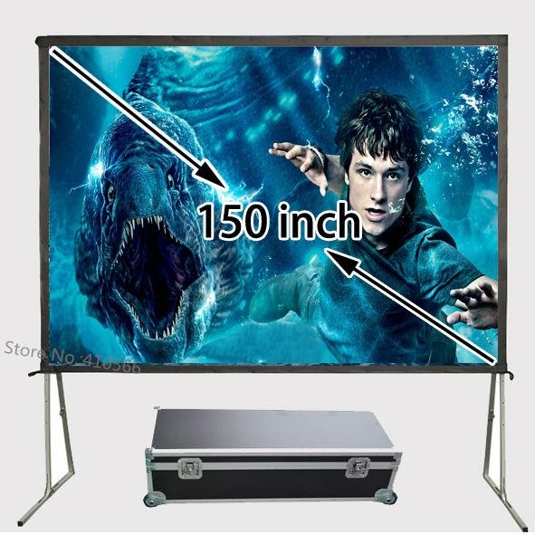 Excelente calidad de imagen 3D proyector pantalla 150 pulgadas portátil exterior proyección frontal tela marco de aluminio configuración Simple