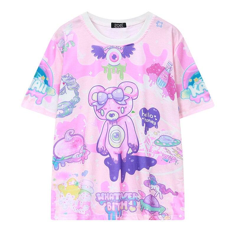 Camiseta Goth Pastel Rosa lindo oso monstruos cualquier perra Graffiti divertida camiseta Casual mujeres moda novedad Camiseta de manga corta