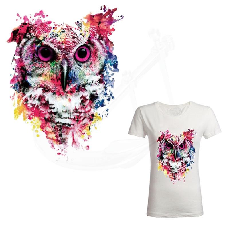 Parche para ropa estilo búho pintura al óleo 25,5*19 cm parches de planchado Diy camiseta vestidos adhesivo por transferencia térmica