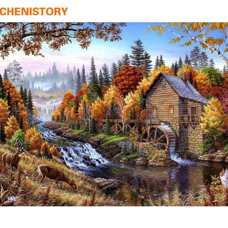 Kit de pintura por números de paisaje de río sin marco de CHENISTORY, pintura sobre lienzo, caligrafía para decoración del hogar, triangulación de envío
