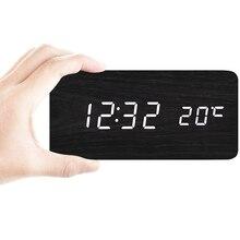 Horloge de chevet en bambou TXL   Alarmes numériques, moderne concise, pour étudiants, décoration créative pratique pour chambre à coucher, 2018