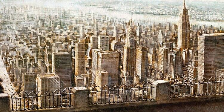 Городской пейзаж винтажные плакаты холст картины США здания блоки Нью-Йорк Империя вид здания