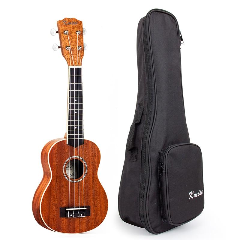 Kmise Soprano Ukelele caoba 21 pulgadas Ukelele Uke 4 cuerdas Hawaii guitarra con bolsa de concierto