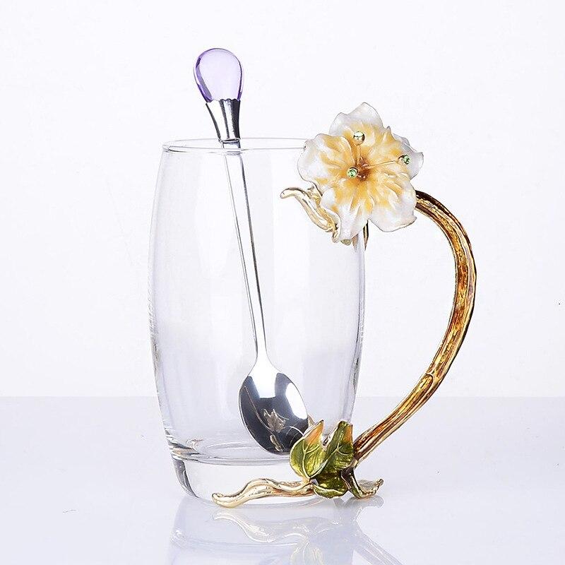 Cor do esmalte Copo de Cristal Terno Mãe Flor Embalagem Do Presente Conjunto de Chá Perfumado Café Café Da Manhã Caneca De Vidro de Vinho Tinto 2/kits Artesanais