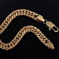 solid yellow gold filled mens bracelet double cuban link 8 3