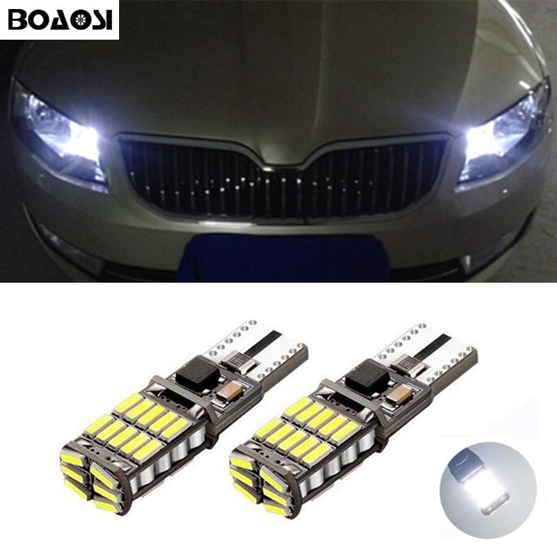 BOAOSI 2x T10 4014smd Luz de liquidación LED Bombilla de párpado de cejas libre de Error para Skoda Superb Octavia A7 A5 2 Fabia Rapid Yeti