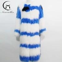 the latest fashion warm soft natural fox fur coat long fox fur woven printed leather coat womens winter coat leather fur coat