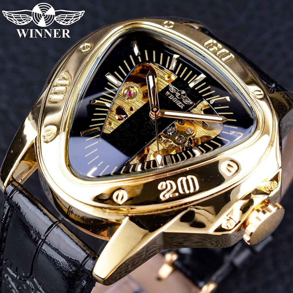 Winner Steampunk moda triángulo esqueleto dorado movimiento misterioso hombres automático relojes de pulsera mecánicos Top marca de lujo