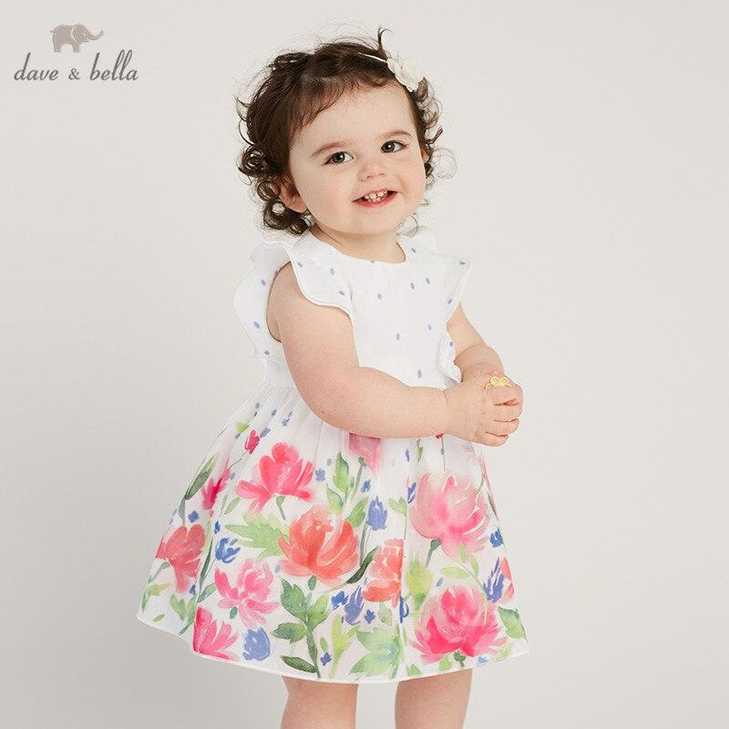 DB10486 dave bella summer baby girls princess cute floral dress children party wedding flower dress kids infant lolital clothes