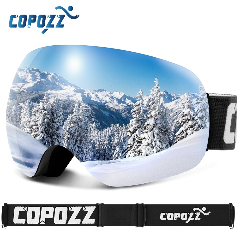 Gafas de esquí COPOZZ antiniebla esféricas sin marco para Snowboard, gafas de nieve 100% Protección UV400, Correa antideslizante para hombres y mujeres