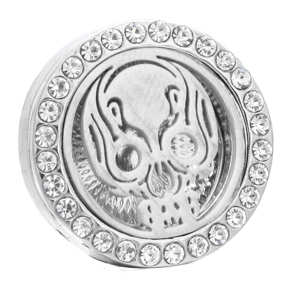 2019 aromaterapia 18mm botones a presión Perfume relicario de acero inoxidable difusor de aceite esencial cráneo Snap Button pulsera joyería