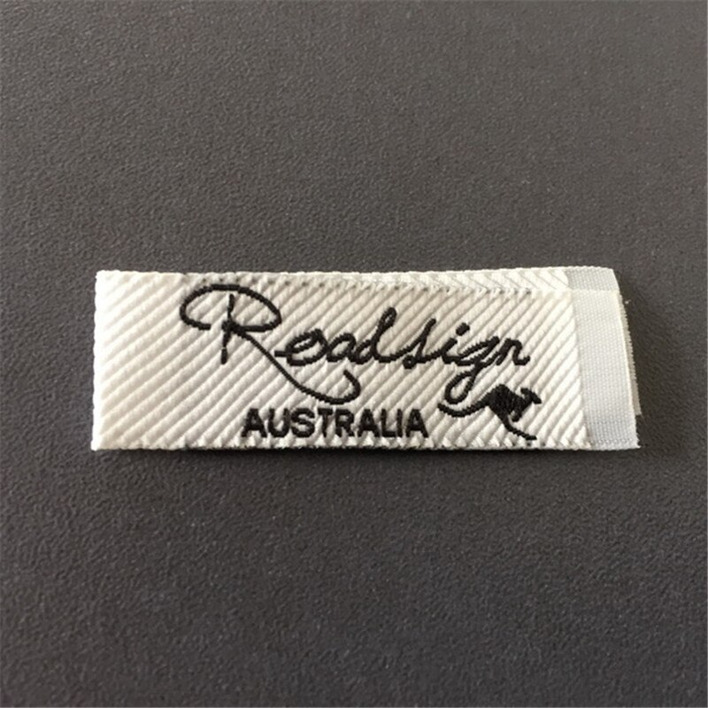 Custom Ultrasonic Cutting Edge Woven Name Label Clothing Label custom double density black background woven label clothing label name label