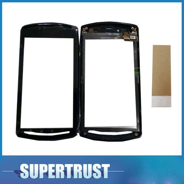 4,5 pulgadas para Sony Ericsson Xperia Play Z1i R800 R800i Digitalizador de pantalla táctil Sensor de lente de vidrio frontal Panel color negro con cinta