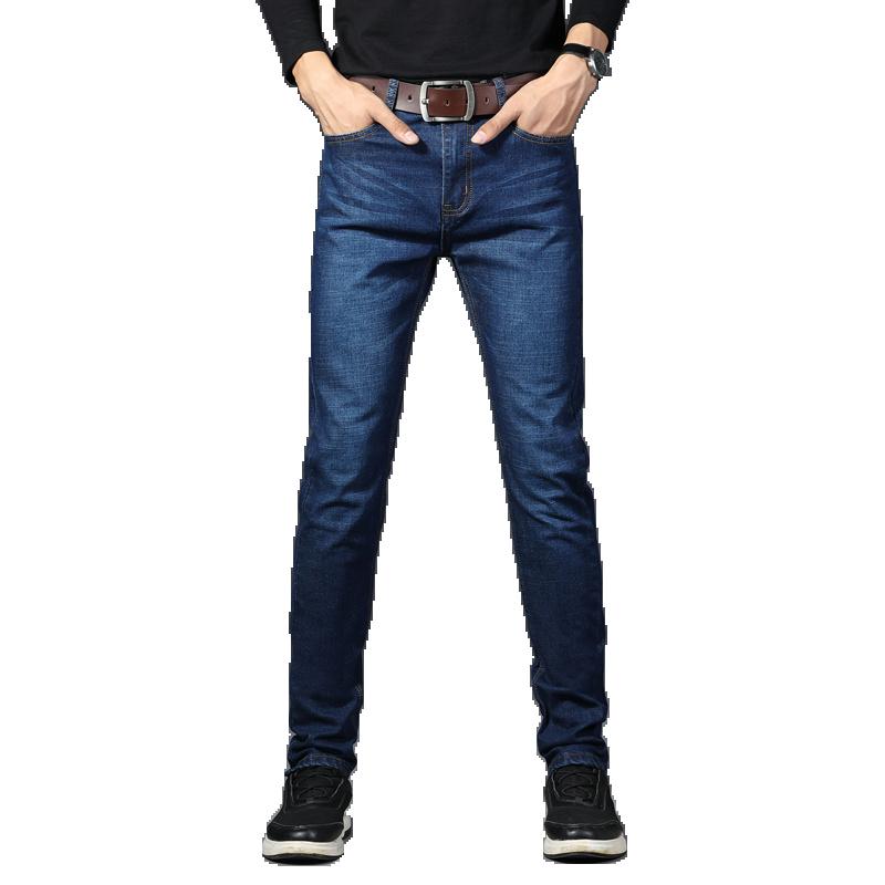 BINHIIRO European American Style Stretch Men Jeans Luxury Men's Denim Trousers Slim Straight Deep blue Gentleman Mens Stretch