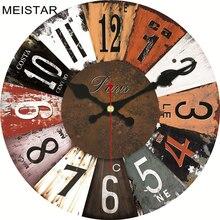 MEISTAR 4 Patterns Vintage Wooden Design Clock Silent Home Decor Cafe Office Kitchen Watches Wall Art Clock  6 inch ( 15 cm )
