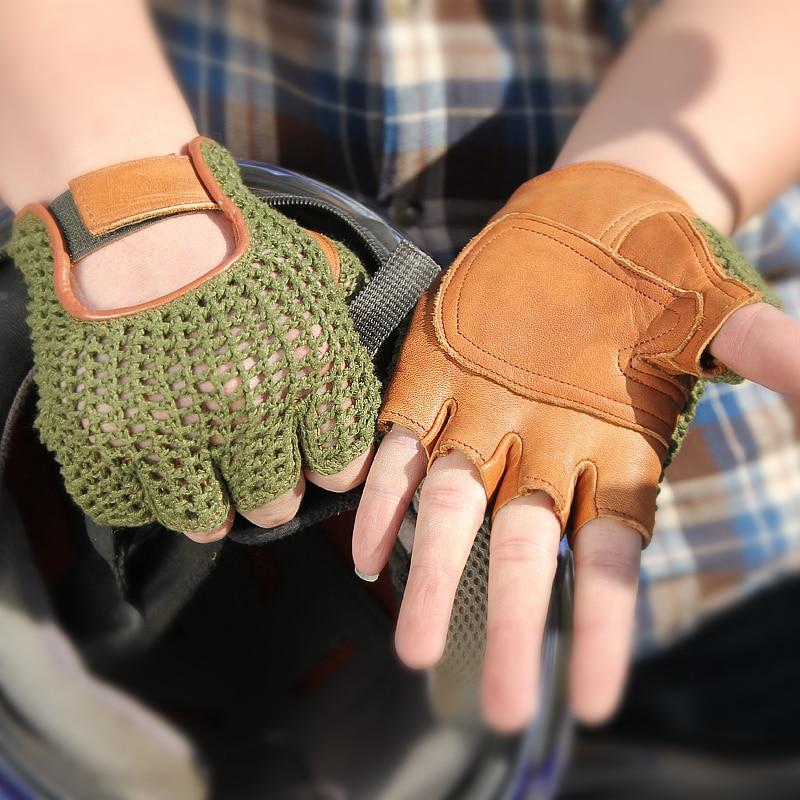 Genuine Leather Semi-Finger Men Gloves Half Finger Sheepskin Fashion Hand Back Knitted Breathable Driving TB06