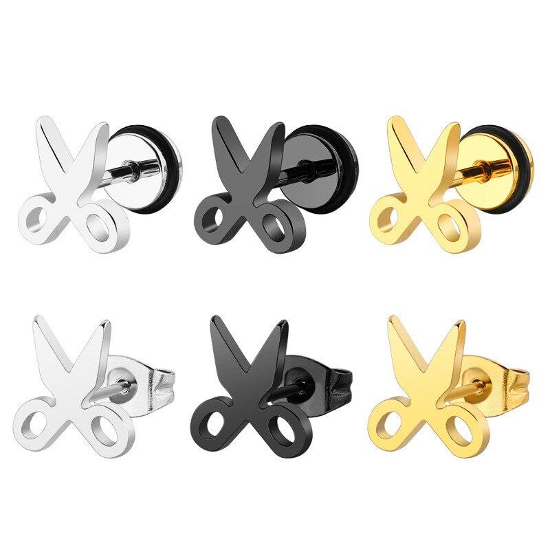 Gold color Round Cake Studs Earrings Titanium Steel Simple Small Scissors Stainless Steel Earrings Female Geometric Earrings