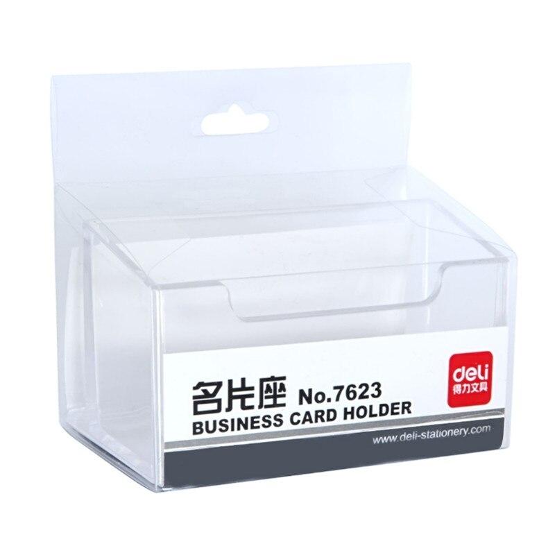 Suministros de almacenamiento de escritorio caja de tarjetas de visita clips de papel transparente plástico escuela Oficina almacenamiento papelería