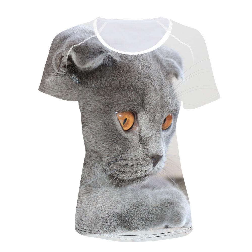 Camiseta escocesa con estampado de gato para mujer, Camiseta corta informal de verano para mujer, para chicas, camisas delgadas informales femeninas