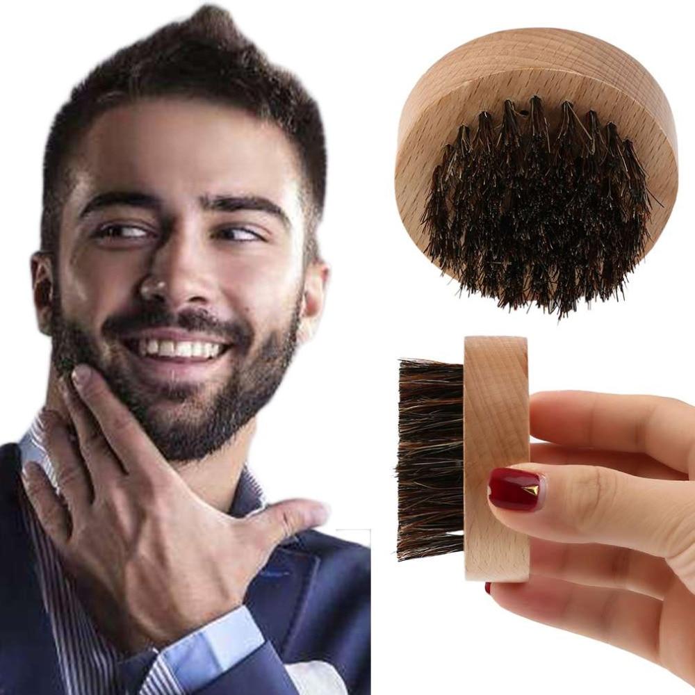 Cepillo de barba redondo de madera + pelo de jabalí para hombre peine de pelo Facial para acondicionador de bigote estilo y mantenimiento