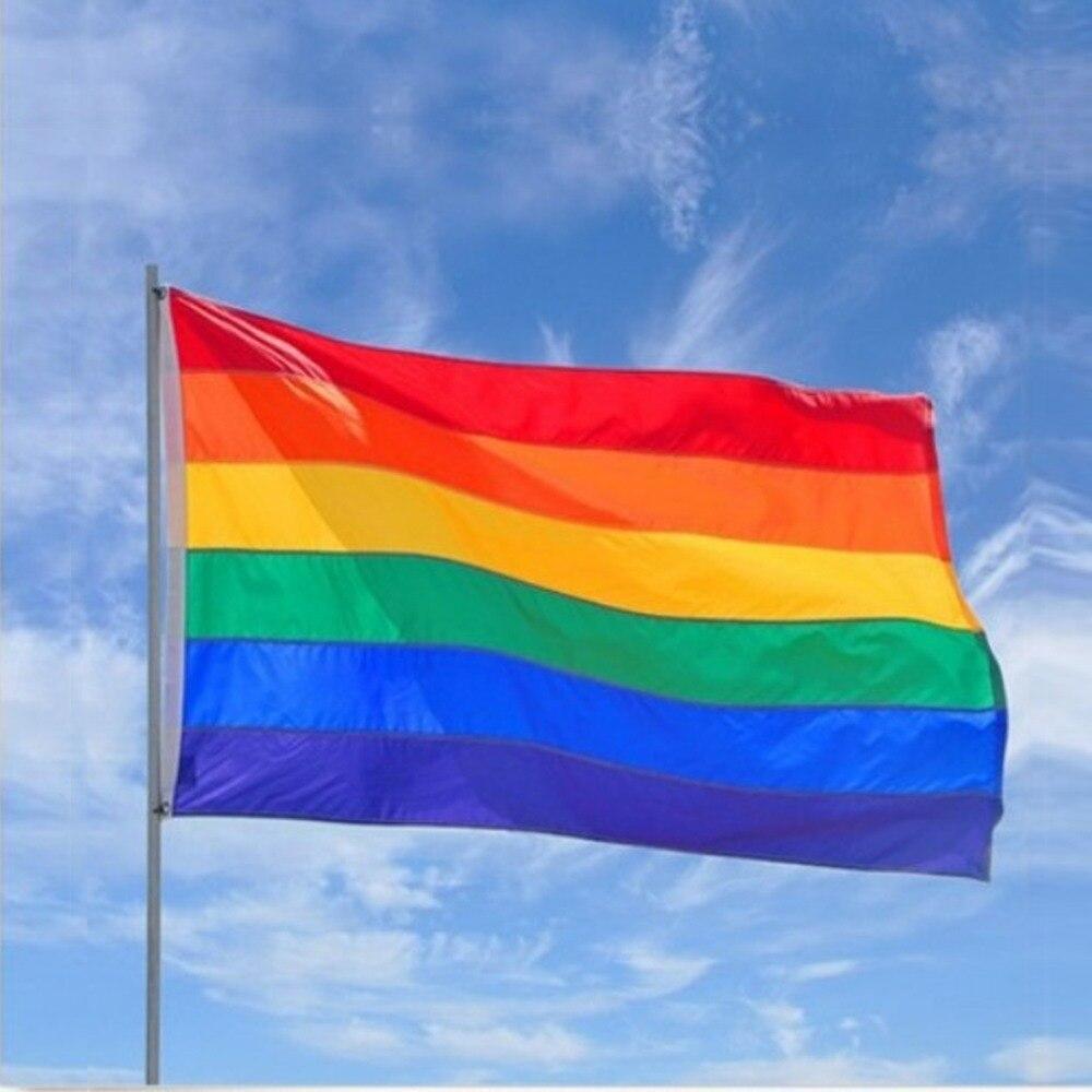 90x150 cm doble cara poliéster Arco Iris Gay Orgullo LGBT bandera Festival Fiesta de Carnaval de decoración de vuelo colgante bandera