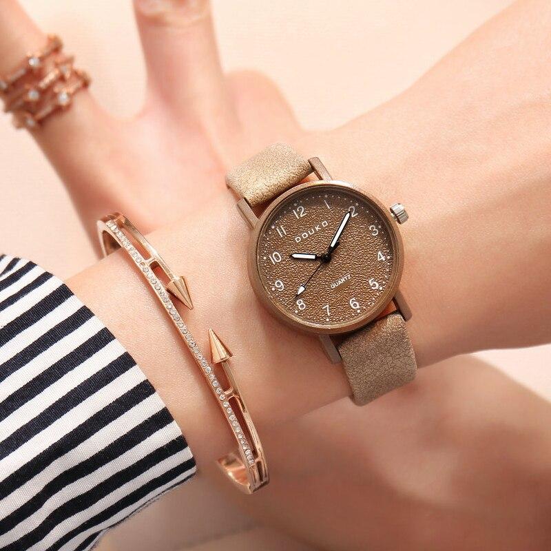 Женские кварцевые часы, классические, элегантные, с кожаным ремешком