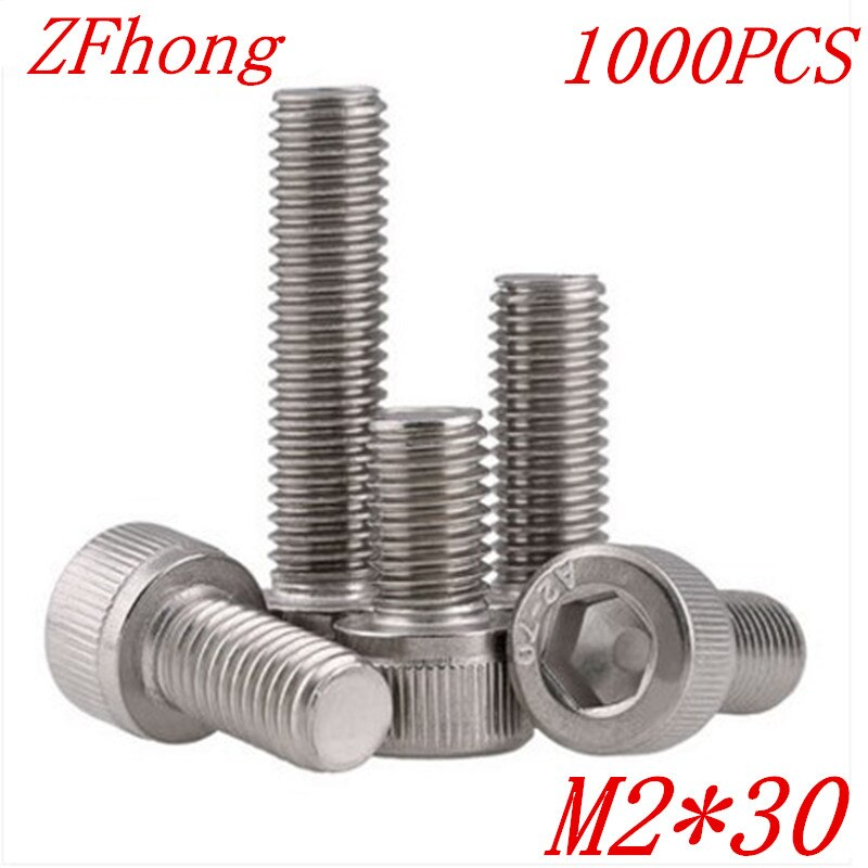 1000PCS DIN912 m2*30 m2 x 30 stainless steel hex socket cap head screw