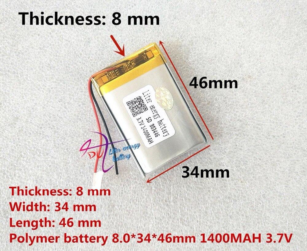 Литровый аккумулятор 3,7 В литий-полимерный аккумулятор 803446 083446 1400 мАч GPS Аккумулятор MP3 MP4 Динамик обучающая машина